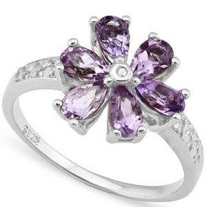 Ring 1.35 Ct Amethyst & Diamond Sterling Silver